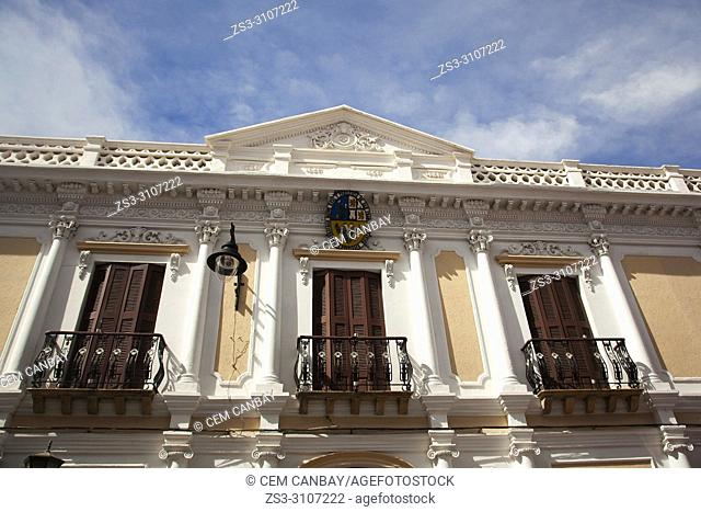 View to the balconies of a colonial building used as Facultad de Humanidades y Ciencia in the historic center, Sucre, Chuquisaca Department, Bolivia