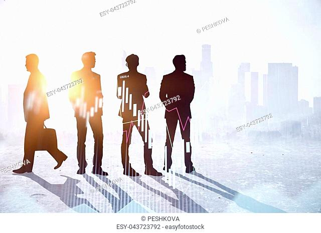 Businesspeople silhouettes standing on abstract city office background with forex chart. Trade, meeting and team concept. Double exposure