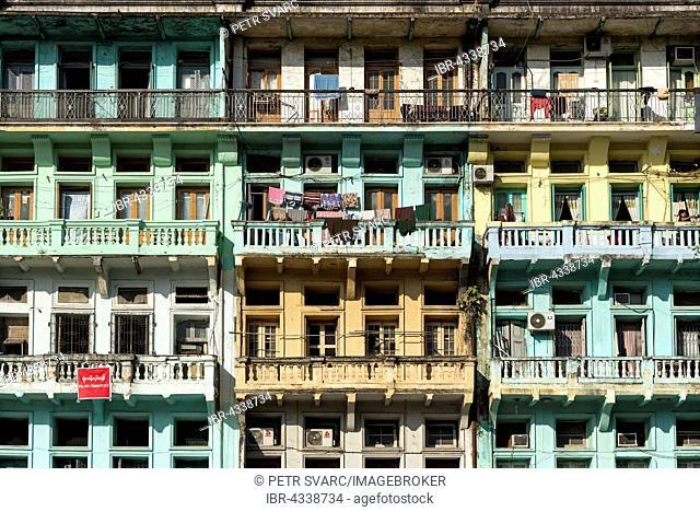 Colonial apartment buildings in downtown Yangon, Rangoon, Burma, Myanmar