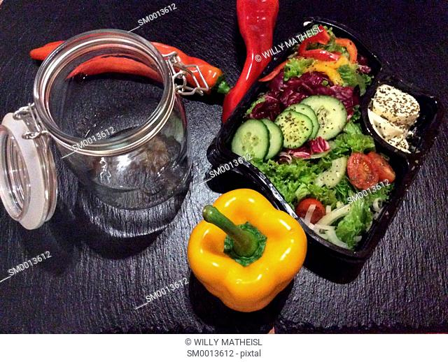 Salad in a jar. A quick and portable healthy lunch in the go