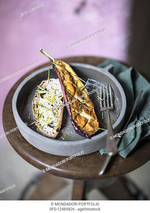 Oven roasted miso aubergines with rosemary