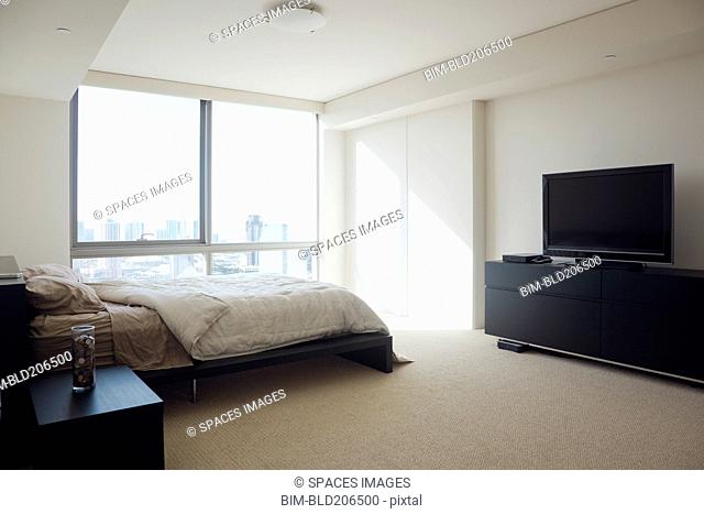 Bedroom in luxury highrise apartment