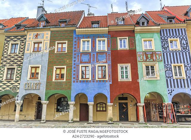 Poland, Poznan City, Stary Rynek, Picturesque houses, Old Town Square