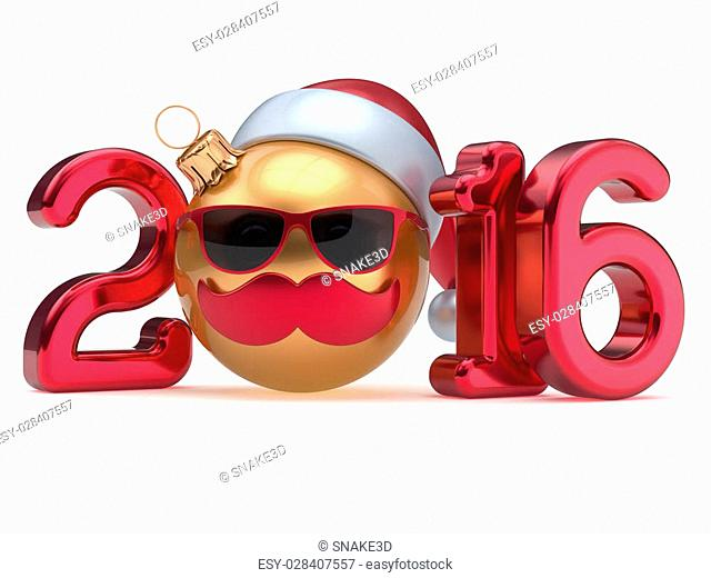 New Year 2016 Christmas ball calendar date emoticon bauble happy Santa Claus hat cartoon mustache face decoration cute red gold