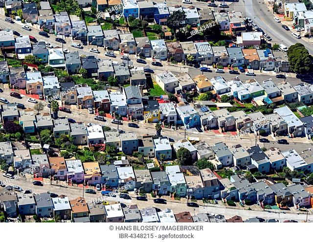 Aerial view, apartment buildings, single family houses on a steep street, San Francisco, San Francisco Bay Area, California, USA