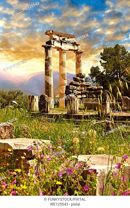 The Tholos at the sanctuary of Athena Pronaia, a circular building with Doric columns that was constructed between 380 and 360 BC