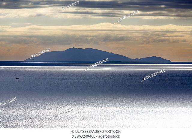 View with Giglio island from Castiglione della Pescaia Castiglione, province of Grosseto, Tuscany, Italy, Europe