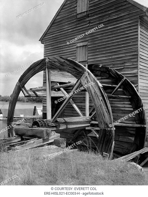 Poplar Grove tide mill was driven by tidal rise and fall. This type of water mill dates from Roman times. Mathews County, Virginia