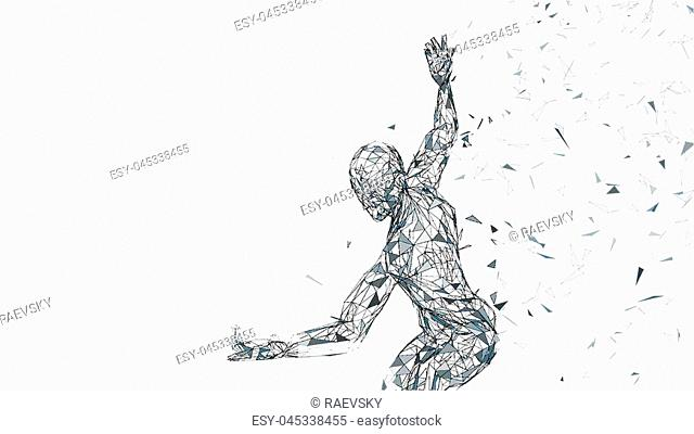 Conceptual abstract man ready to fight. Connected lines, dots, triangles, particles isolated on white. Artificial intelligence concept