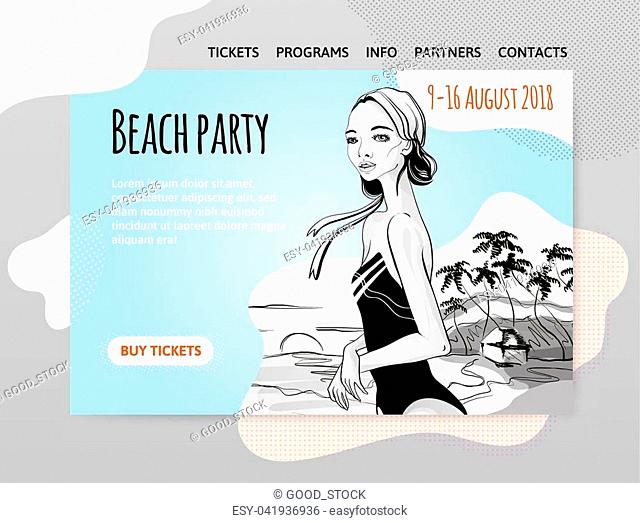 Beach party, young girl in swimsuit on the beach. Vector illutration, design template of site header, banner or poster