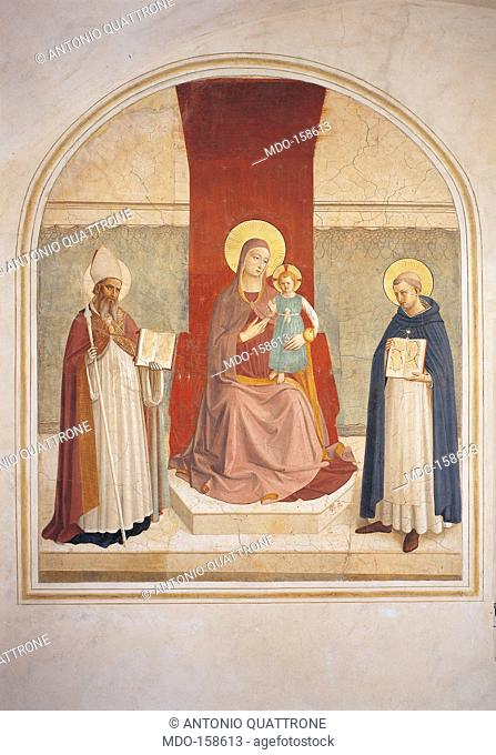 Enthroned Madonna and Child with Saints, by Guido di Pietro (Piero) known as Beato Angelico, 1438 - 1446 about, 15th Century, curved fresco, cm 195 x 155