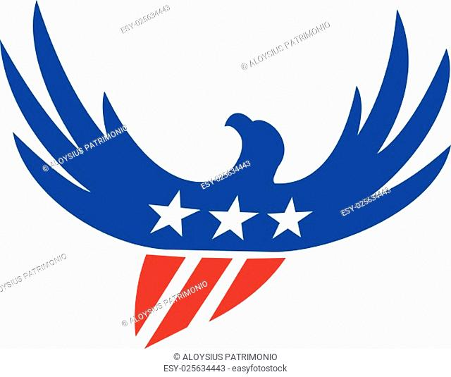 Illustration of an american bald eagle flying viewed from front with usa american stars on its wings and american stripes as its body set on isolated white...