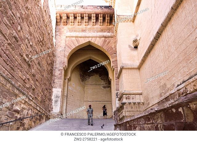 Door to acces of the Mehrangarh fort.. Jodhpur, Rajasthan. India