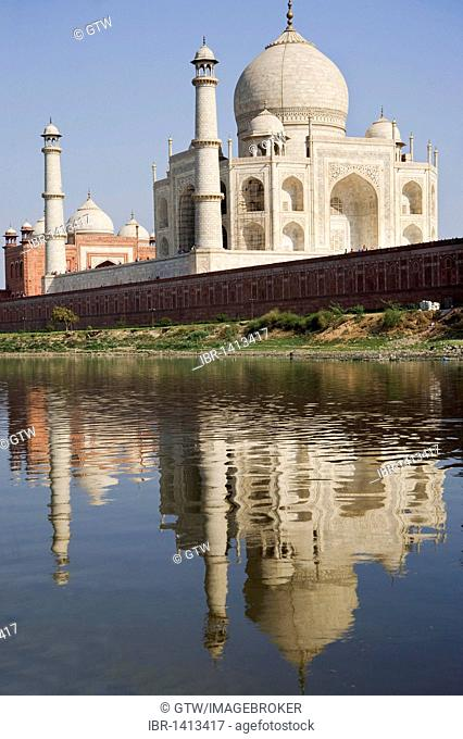 Taj Mahal reflecting in the Yamuna river, UNESCO World Heritage Site, Agra, Uttar Pradesh, India, Asia