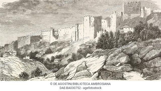 Trabzon castle, Turkey, drawing from Travels in Lazistan and in Armenia, 1869, text and drawings by Theophile-Louis Deyrolle (1844-1923)