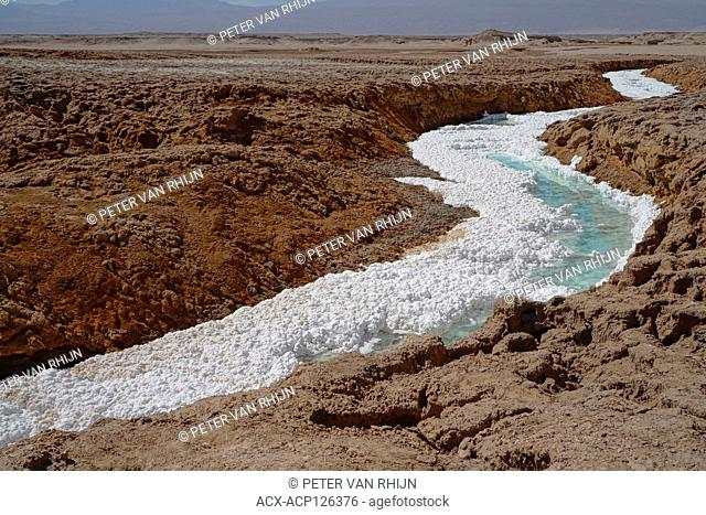 Salt creek near San Pedro de Atacama, The white material is sodium chloride,collected by water from a nearby volcanic hot spring, The Andes Mountains,Chile