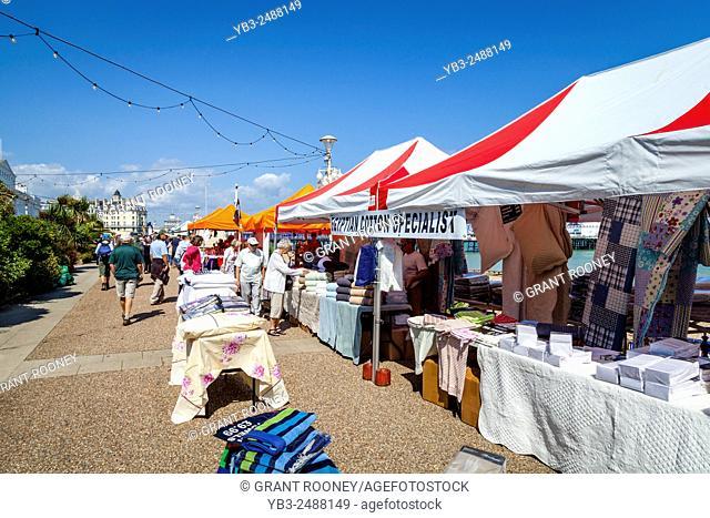Colourful Seafront Market, Eastbourne, Sussex, UK