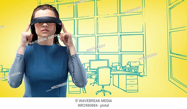 Woman in virtual reality headset against 3d yellow and blue hand drawn office