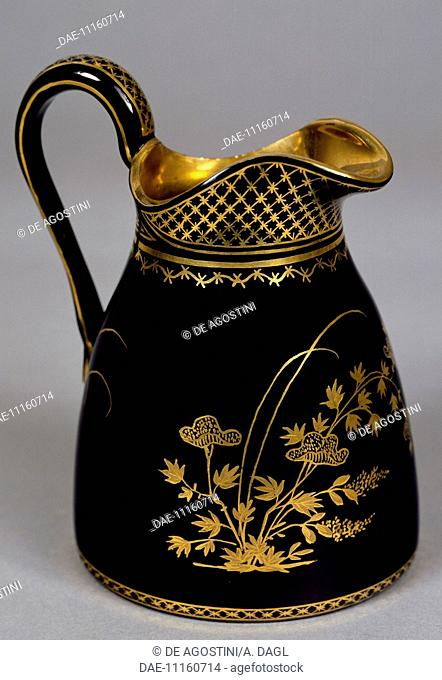Glass jug decorated with enamel and gold, ca 1825. Bohemia, 19th century.  Prague, Umeleckoprumyslové Muzeum V Praze (Arts And Crafts Museum)