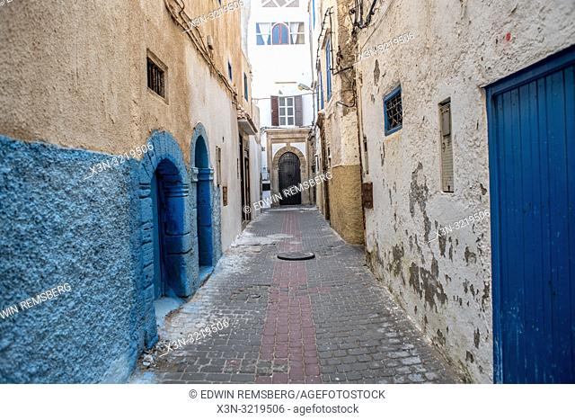 Symmetrical Alley with Hints of Blue, Essaouira, Marrakesh-Safi, Morocco