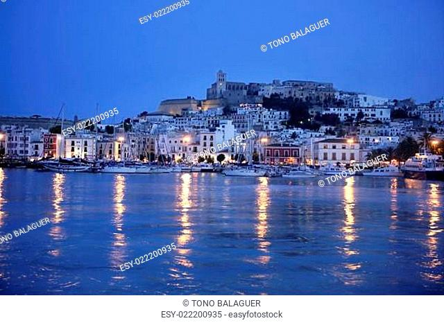 Ibiza island night harbor in Mediterranean