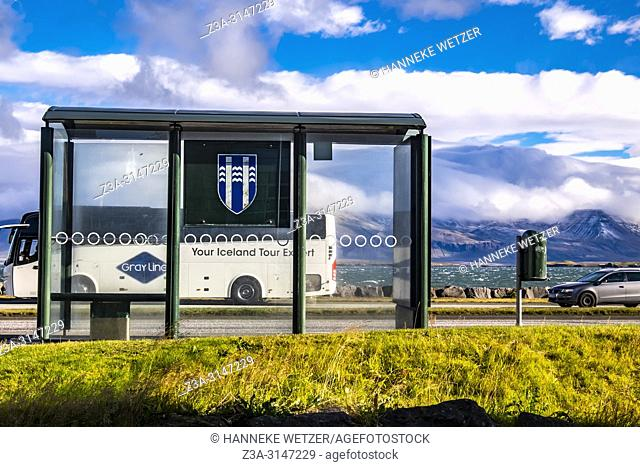 Bus stop in Reykjavic, Iceland