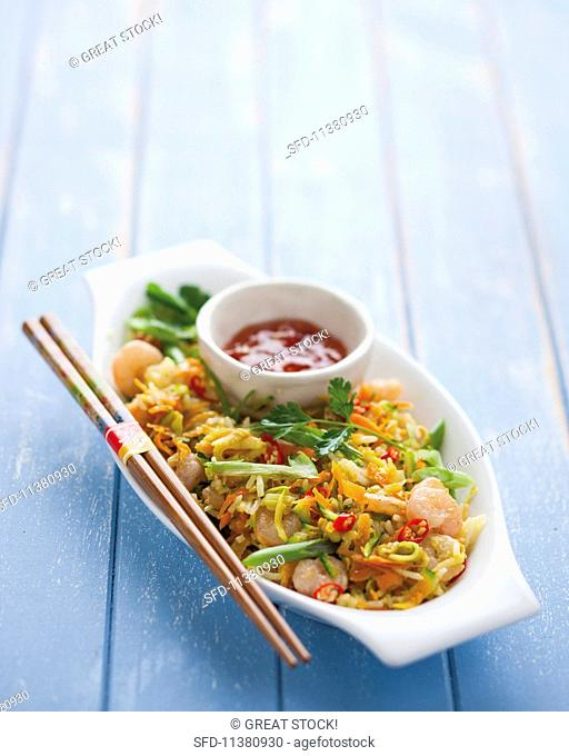 Fried rice with vegetables, prawns and chilli sauce