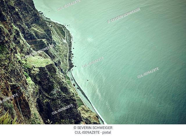 Aerial view of coastline, Madeira, Cabo Girao, Portugal