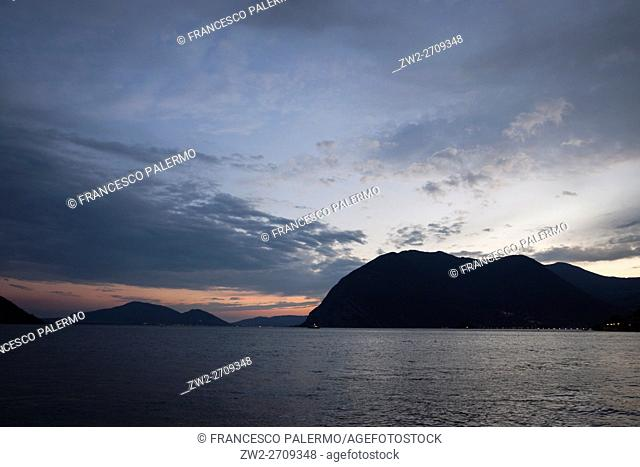 Summer sunset over Lake Iseo. Sulzano, Lombardy. Italy