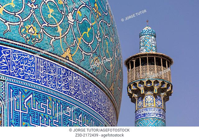 Blue tiles in the dome and minaret characteristics of Imam Mosque. Isfahan. Iran