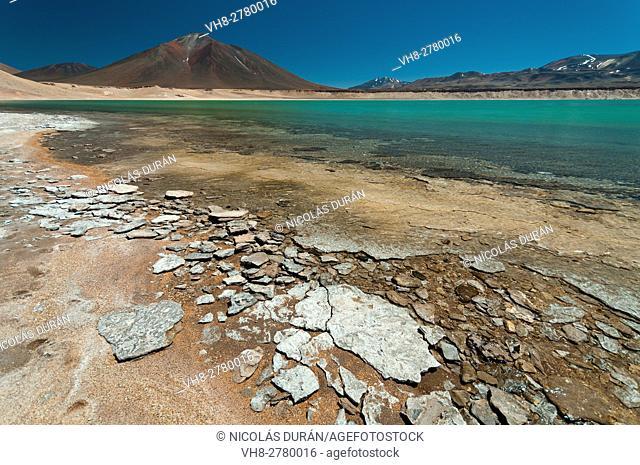 Laguna Verde, Nevado Tres Cruces National Park, Region III of Atacama, Chile, South America. Andean Atacama Desert
