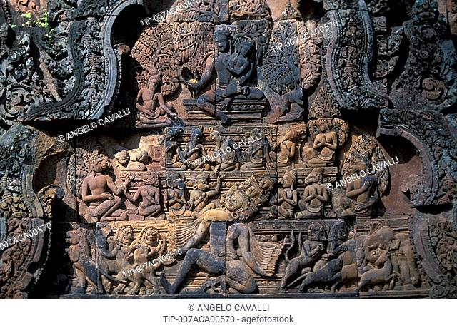 Bas-relief Cambodia - Angkor, Banteay Srei temple, detail