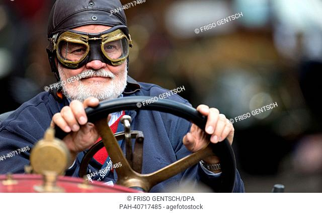 Lothar Lehr (70) from Munich drives his classic car Locomobile Speedcar made in 1916 during a Schnauferl tour in Warendorf, Germany, 02 July 2013