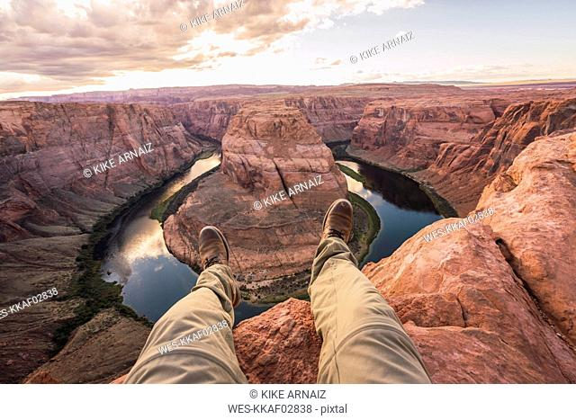 USA, Arizona, Colorado River, Horseshoe Bend, young man on viewpoint