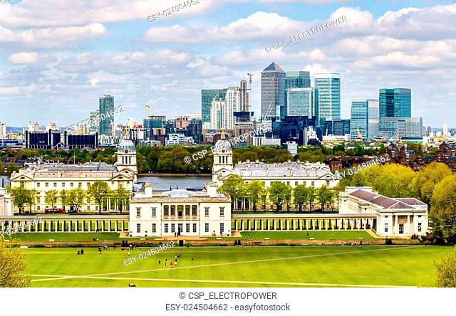 View of Canary Wharf from Greenwich - London, England