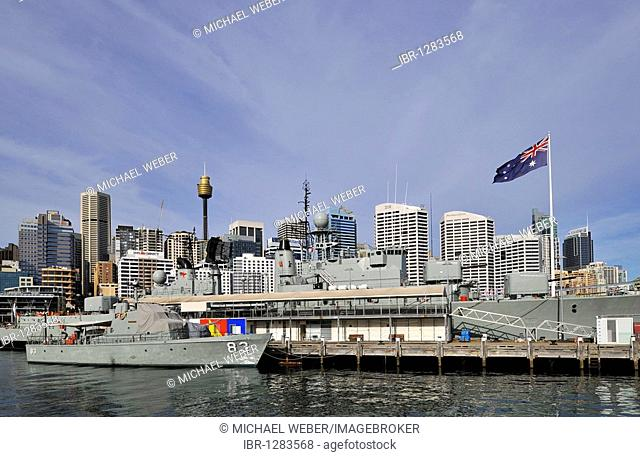 Australian National Maritime Museum, Darling Harbour, in front of Sydney Tower or Centrepoint Tower and the skyline of the Central Business District, Sydney