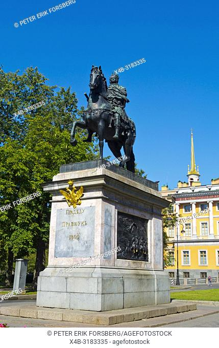 Monument to Peter the Great, in front of St Michael's Castle, Saint Petersburg, Russia