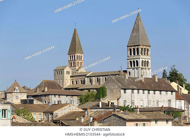France, Saone et Loire, Tournus, the edges of the Saone and the two tower of the ancient abbey Saint Philibert
