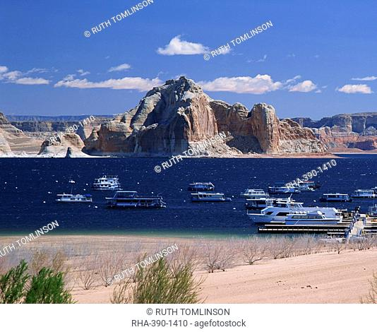Boats used for recreation moored in Wahweap Marina on Lake Powell in Arizona, United States of America, North America