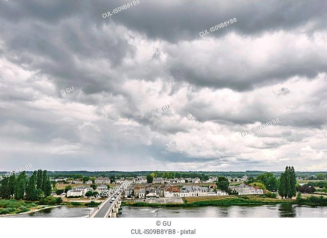 Elevated view of bridge over Loire river, Amboise, Loire Valley, France