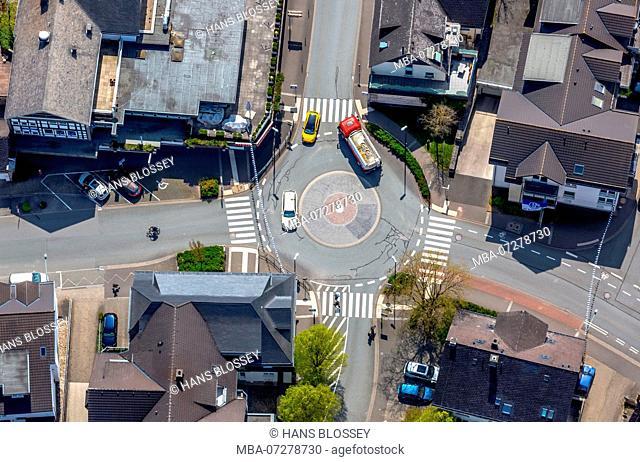 Roundabout Strackestrasse and Obere Mauer, Brilon, Sauerland, Hochsauerlandkreis, North Rhine-Westphalia, Germany, Europe