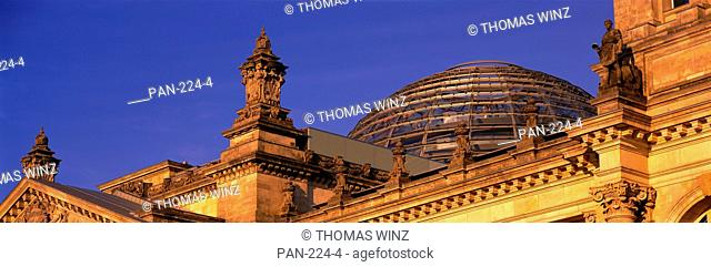 Detail of Reichstag, with Glass dome, Berlin, Germany