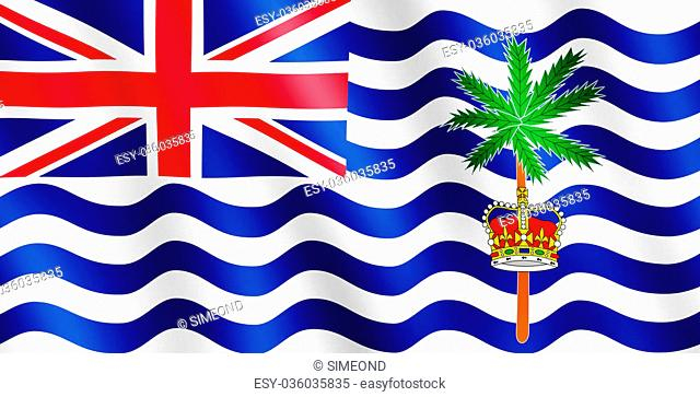 Flag of British Indian Ocean Territory waving in the wind giving an undulating texture of folds in the fabric. The Image is in the official ratio of the flag -...