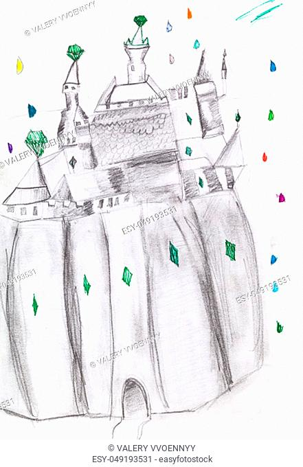 fairy castle on rock hand-drawn by pencils on white paper