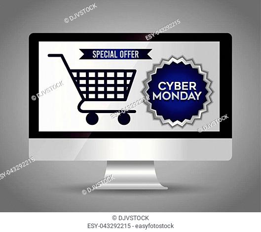 cyber monday design with computer and shopping cart icon over gray background vector illustration