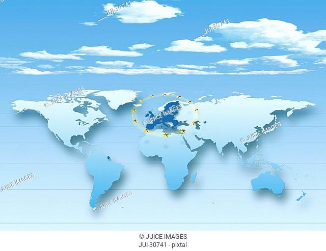 map, world, europe centered, blue, European Union, EU stars, clouds, sky