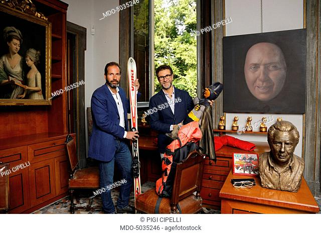TV host Fabio Fazio and Nicolò Bongiorno at Casa d'Arte il Ponte, in Crivelli Palace, during an auction of Mike Bongiorno's belongings. Milan, Italy