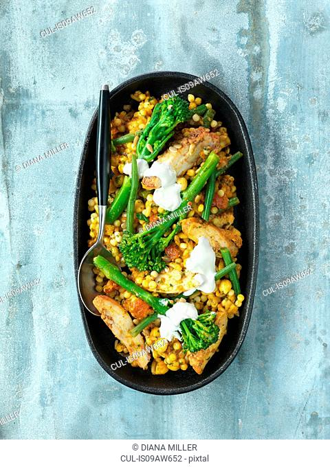 Harissa chicken and tender stem broccoli curry, lentils, chick peas