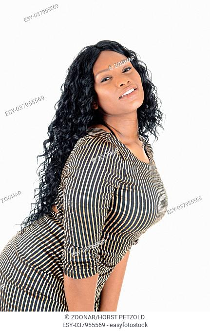 African woman bending down