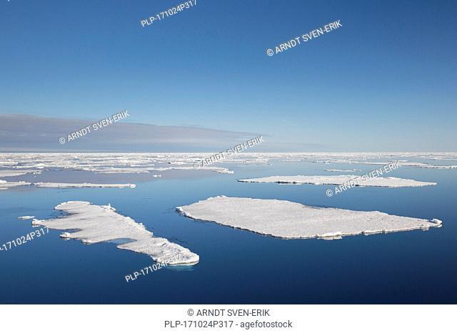 Drift ice / ice floes in the Arctic Ocean, Nordaustlandet / North East Land, Svalbard / Spitsbergen, Norway